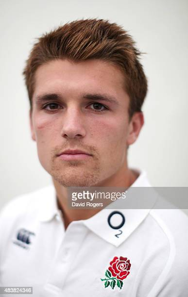 Henry Slade who will make his debut for England in the match against France on Saturday poses during the England media session held at Pennyhill Park...
