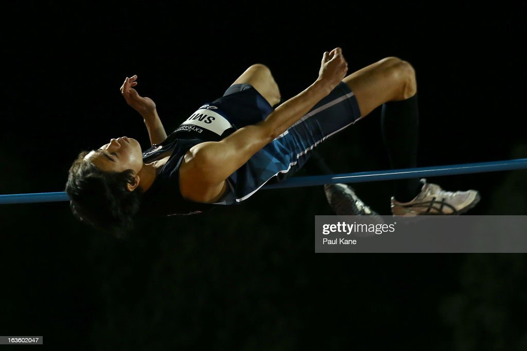 Henry Smith of Victoria competes in the men's u18 high jump during day two of the Australian Junior Championships at the WA Athletics Stadium on March 13, 2013 in Perth, Australia.