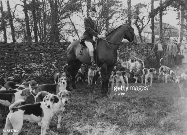 Henry Somerset the 10th Duke of Beaufort during a special meet of the Beaufort Hounds at Acton Turville UK in honour of Prince Bernhard of the...