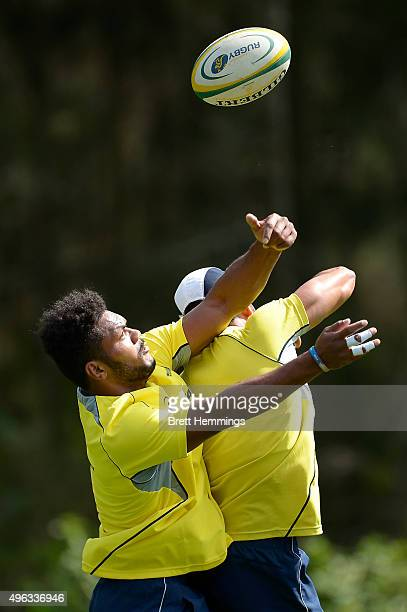 Henry Speight competes for a high ball during an Australian men's rugby sevens training session at Sydney Academy of Sport on November 9 2015 in...