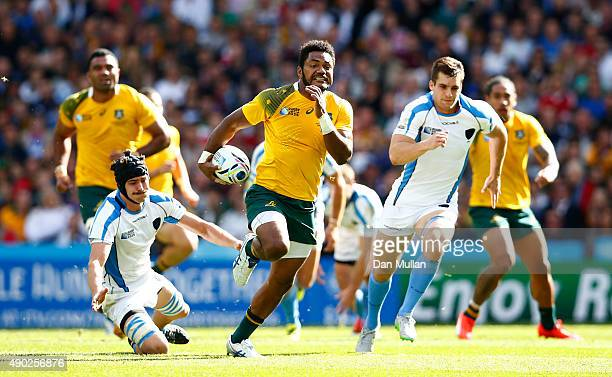 Henry Speight of Australia makes a break during the 2015 Rugby World Cup Pool A match between Australia and Uruguay at Villa Park on September 27...