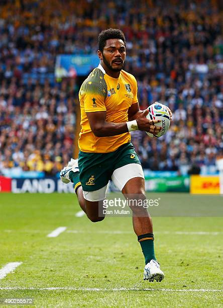 Henry Speight of Australia runs in to score their fourth try during the 2015 Rugby World Cup Pool A match between Australia and Uruguay at Villa Park...