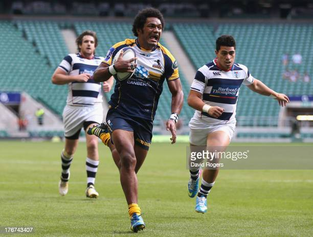 Henry Speight of the Brumbies breaks clear to score the match winning try against Auckland to win the World Club 7's Cup during the World Club 7's at...