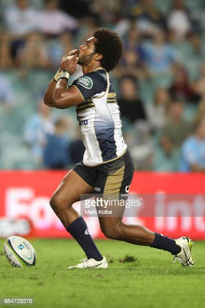 Henry Speight of the Brumbies celebrates scoring a try during the round four Super Rugby match between the Waratahs and the Brumbies at Allianz...