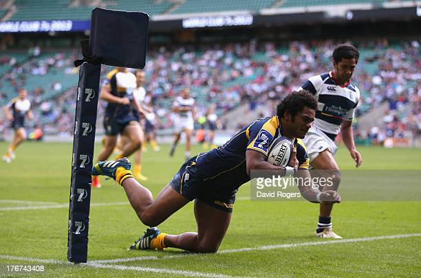Henry Speight of the Brumbies dives over to score the match winning try against Auckland to win the World Club 7's Cup during the World Club 7's at...