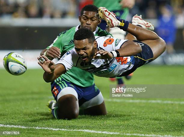 Henry Speight of the Brumbies drops the ball while attempting to score a try during the round 11 Super Rugby match between the Brumbies and the...