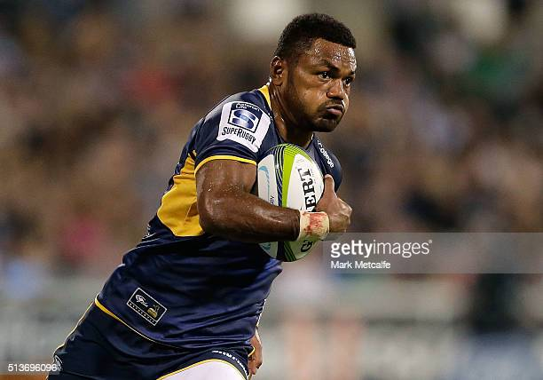 Henry Speight of the Brumbies in action during the round two NRL match between the Brumbies and the Waratahs at GIO Stadium on March 4 2016 in...
