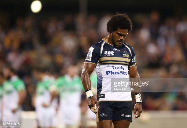 Henry Speight of the Brumbies looks dejected during the round five Super Rugby match between the Brumbies and the Highlanders at GIO Stadium on March...