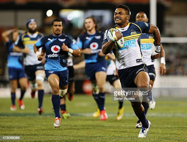 Henry Speight of the Brumbies runs away to score a try during the round 16 Super Rugby match between the Brumbies and the Bulls at GIO Stadium on May...