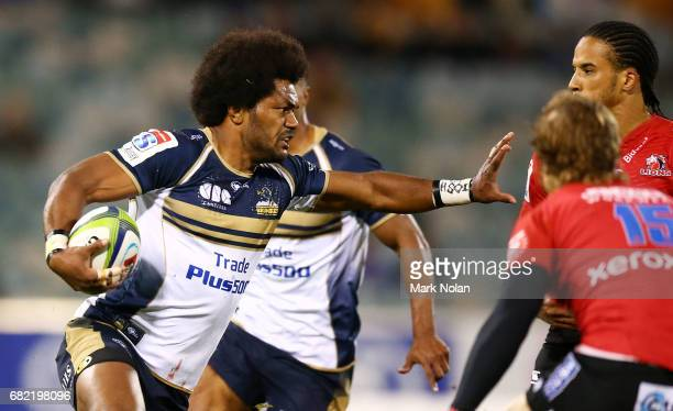 Henry Speight of the Brumbies runs the ball during the round 12 Super Rugby match between the Brumbies and the Lions at GIO Stadium on May 12 2017 in...