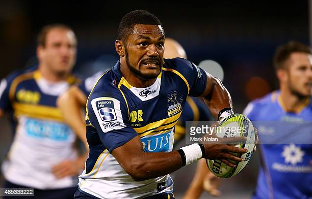 Henry Speight of the Brumbies runs the ball during the round four Super Rugby match between the Brumbies and the Force at GIO Stadium on March 6 2015...