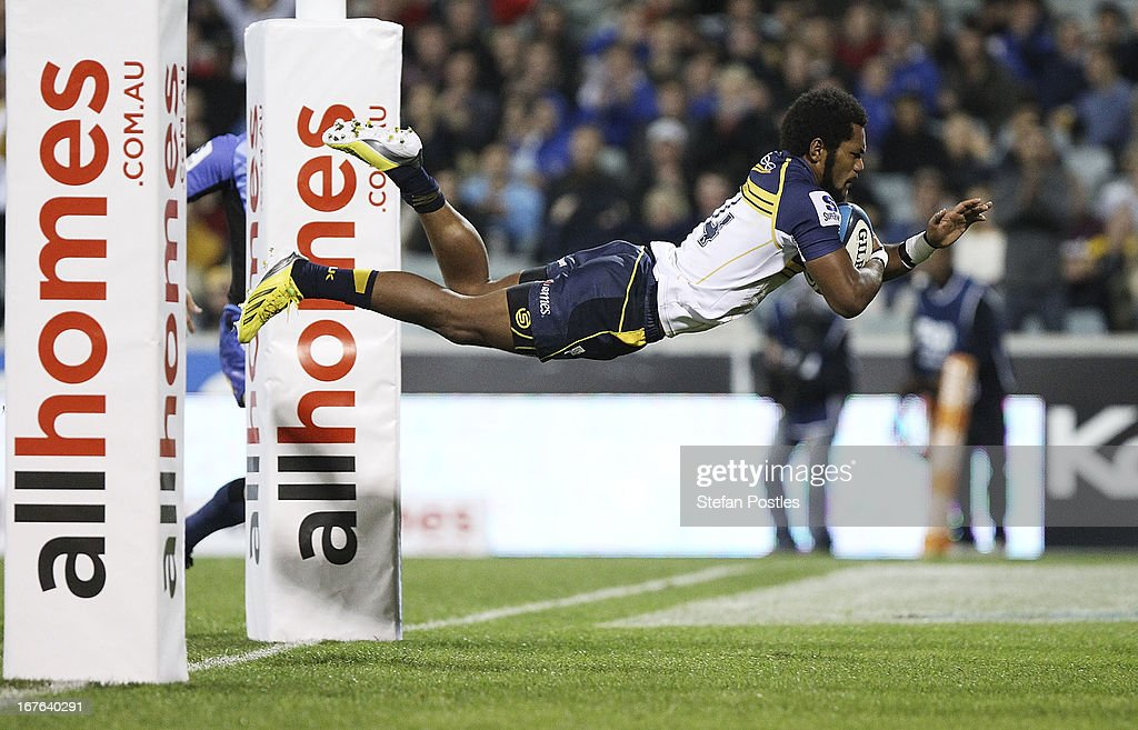 Henry Speight of the Brumbies scores a try during the round 11 Super Rugby match between the Brumbies and the Force at Canberra Stadium on April 27, 2013 in Canberra, Australia.