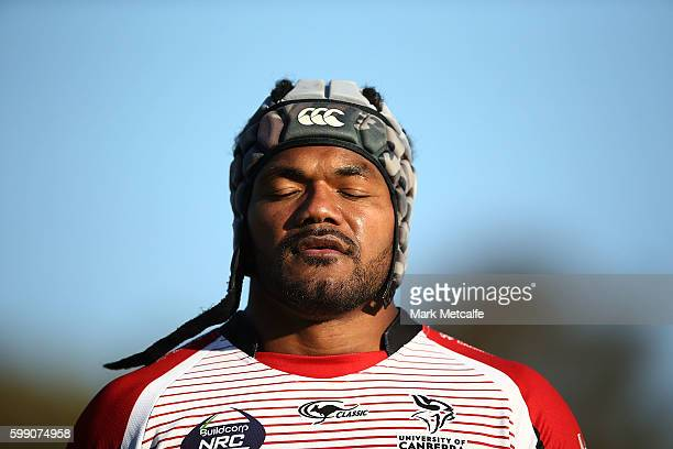 Henry Speight of the Vikings looks dejected after conceding a try during the round two NRC match between the UC Vikings and the NSW Country Eagles at...