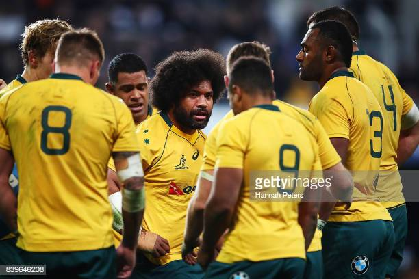 Henry Speight of the Wallabies looks on during The Rugby Championship Bledisloe Cup match between the New Zealand All Blacks and the Australia...