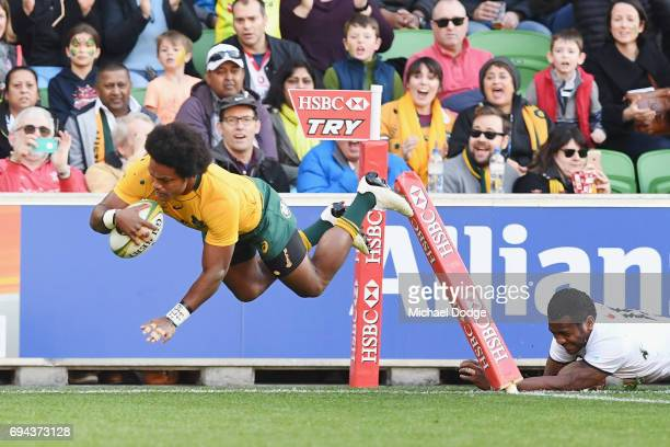 Henry Speight of the Wallabies scores a try during the International Test match between the Australian Wallabies and Fiji at AAMI Park on June 10...