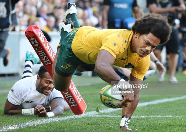 Henry Speight of the Wallabies scores the second try of the match during the International Test match between the Australian Wallabies and Fiji at...