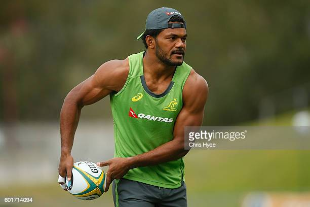 Henry Speight passes during the Australian Wallabies captain's run at Ballymore Stadium on September 9 2016 in Brisbane Australia