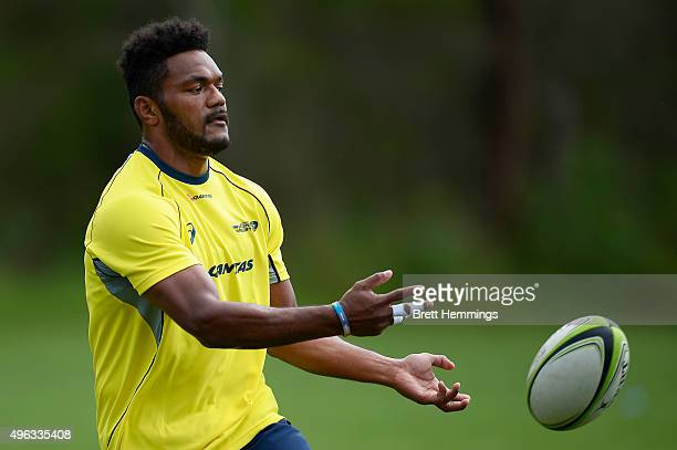 Henry Speight passes the ball during an Australian men's rugby sevens training session at Sydney Academy of Sport on November 9 2015 in Sydney...