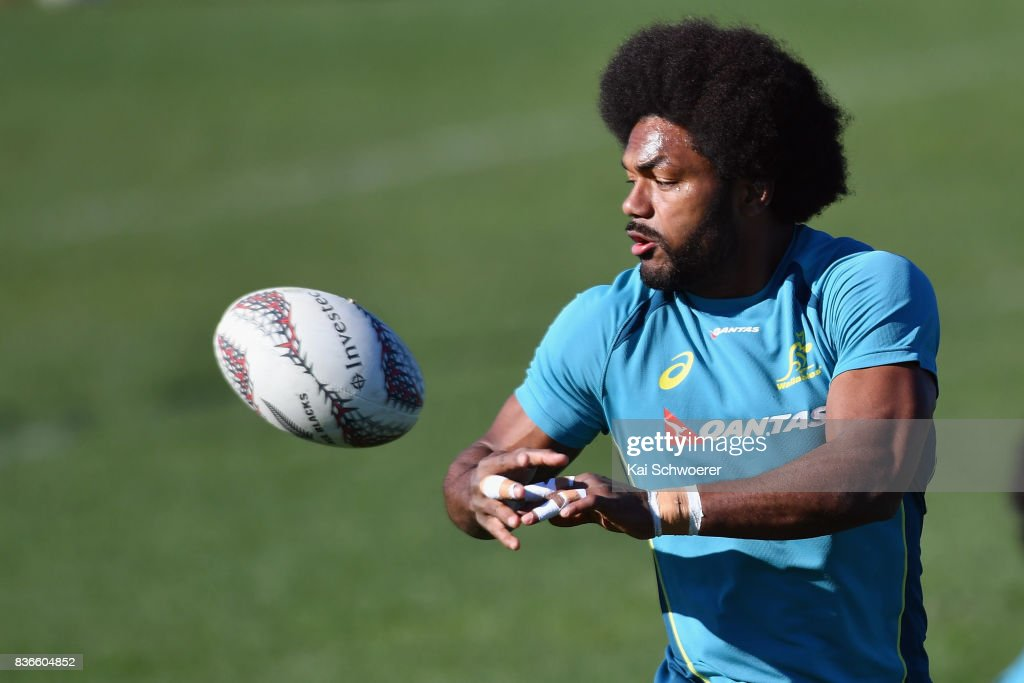 Henry Speight receives a pass during an Australian Wallabies training session at Linwood Rugby Club on August 22, 2017 in Christchurch, New Zealand.