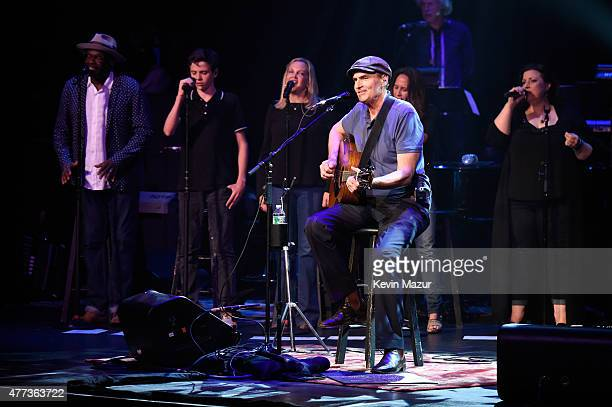 Henry Taylor Kim Taylor and James Taylor perform onstage during SiriusXM Presents James Taylor Live at The Apollo Theater on June 16 2015 in New York...