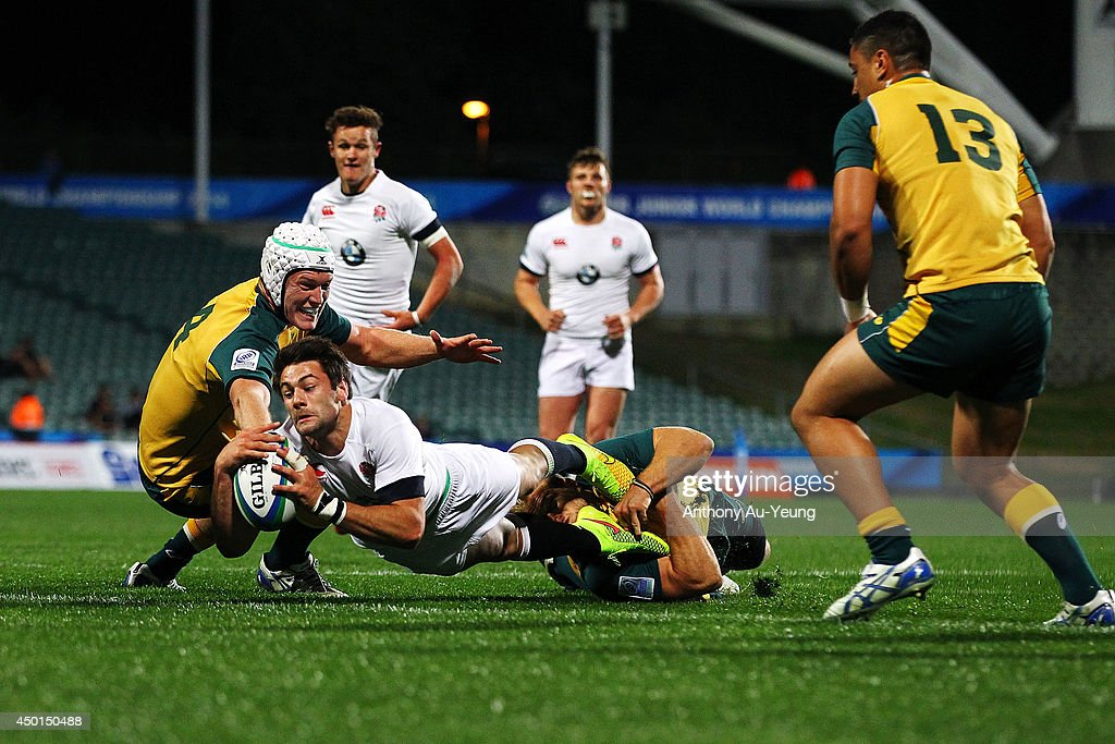 Henry Taylor of England scores a try during the 2014 Junior World Championships match between England and Australia at QBE Stadium on June 6, 2014 in Auckland, New Zealand.
