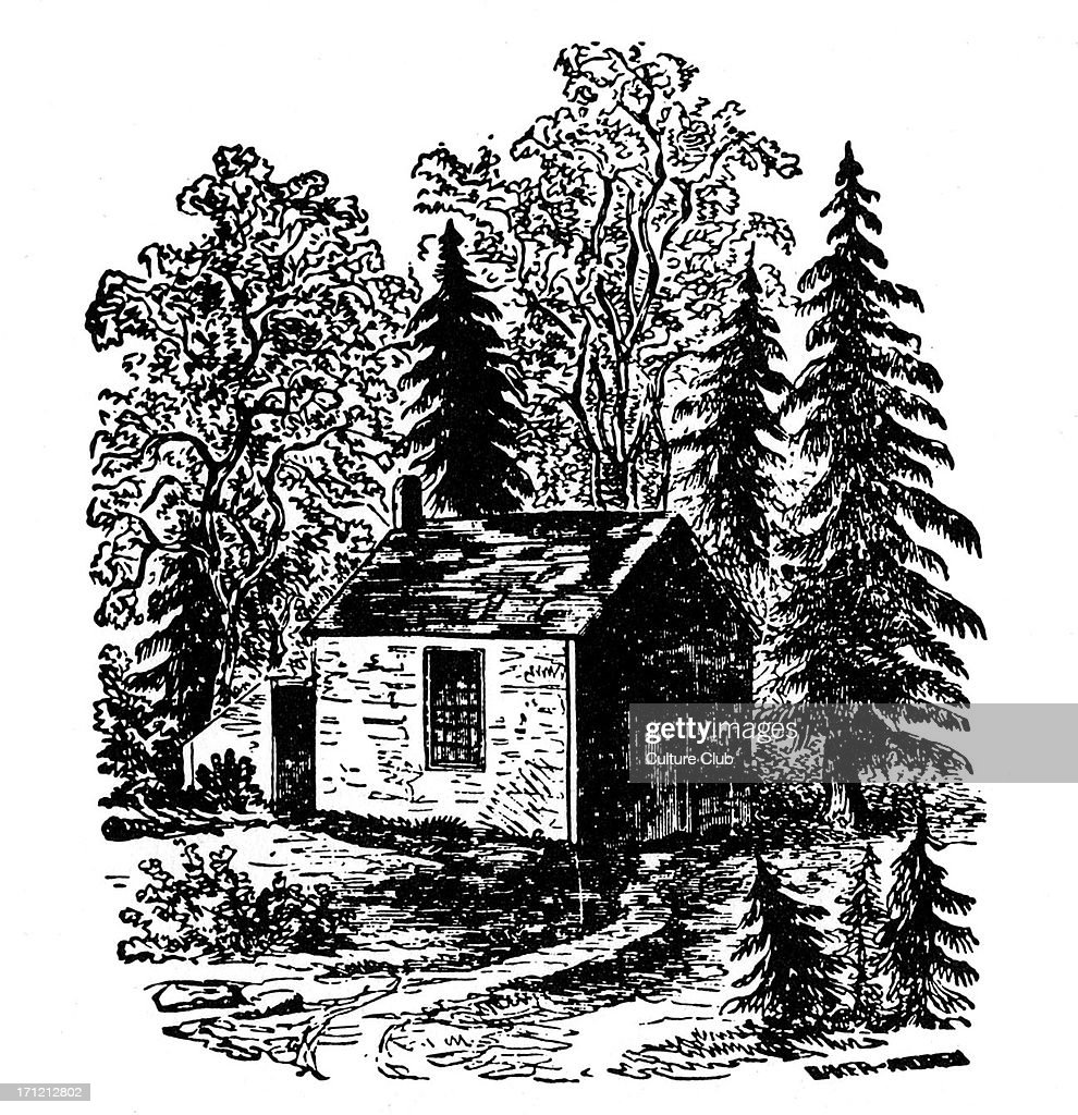Henry Thoreau 's cabin (exterior) at Walden Pond, Massachusetts. American poet and philosopher, 12 July 1817 – 6 May 1862.