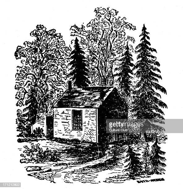 Henry Thoreau 's cabin at Walden Pond Massachusetts American poet and philosopher 12 July 1817 – 6 May 1862