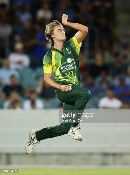 Henry Thornton of the Australian PMXI bowls during the T20 warm up match between the Australian PM's XI and Sri Lanka at Manuka Oval on February 15...