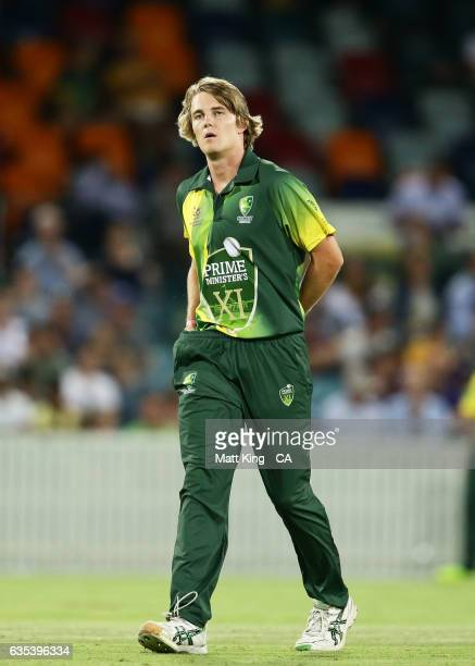 Henry Thornton of the Australian PMXI looks on during the T20 warm up match between the Australian PM's XI and Sri Lanka at Manuka Oval on February...