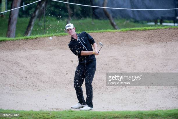 Henry Todd of the United States hits out of a bunker on the seventh hole during the second round of the PGA TOUR Latinoamerica BMW Jamaica Classic at...