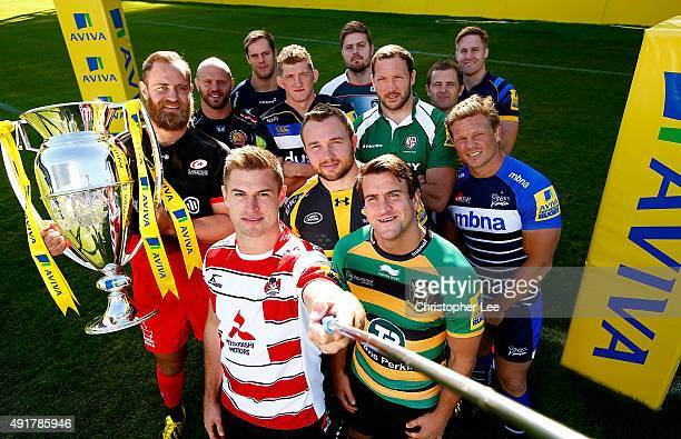 Henry Trinder of Gloucester Rugby takes a Selfie with Nick Evans of Harlequins Matt Mullan of Wasps GJ Van Veltze of Worcester Warriors Stuart Hooper...