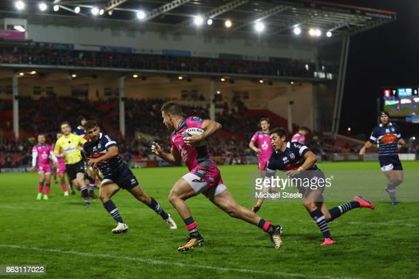 Henry Trinder of Gloucester scores his sides second try during the European Rugby Challenge Cup Pool 3 match between Gloucester and Agen at Kingsholm...