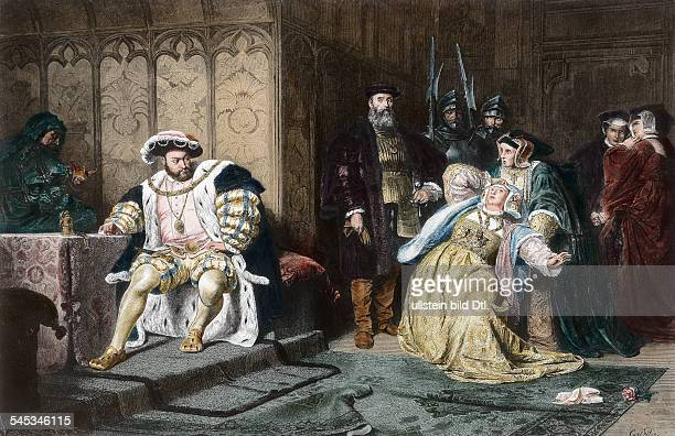 Henry VIII *14911547 King of England 15091547 Henry repudiating Anne Boleyn 1536engraving after a painting of Piloty 19th cent
