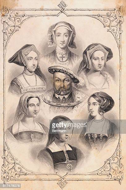 Henry VIII King of England shown in this illustration surrounded by his wives Clockwise from top Anne of Cleves Catherine Howard Anne Boleyn...