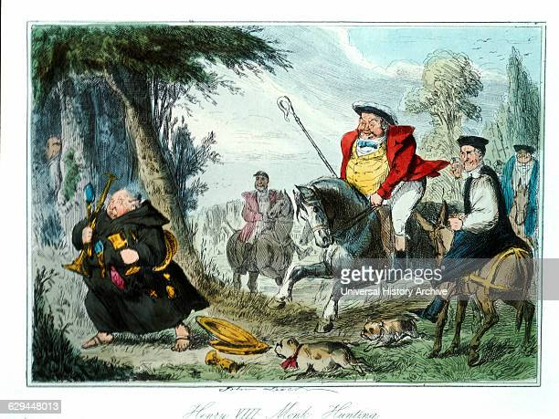 Henry VIII Monk Hunting Comic History of England Colored Etching by John Leech 1850