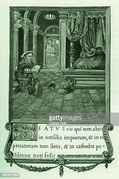 Henry VIII reading in his bedchamber His bed is featured prominently to the right and outside an open door leads into a fantasy of London depicted...
