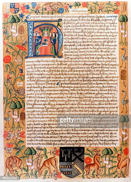 Henry VII's first act of parliament with an initial portrait of the king late 1480s With a border illuminated with depictions of flora and fauna...