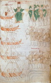 Henry VI's army and navy miniature from Liber ad honorem Augusti by Peter of Eboli miniature 12th Century