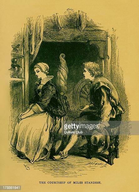 Henry Wadsworth Longfellow 's poem 'The Courtship of Miles Standish' portrait of Miles Standish Priscilla Mullins Illustration by Sir John Gilbert...