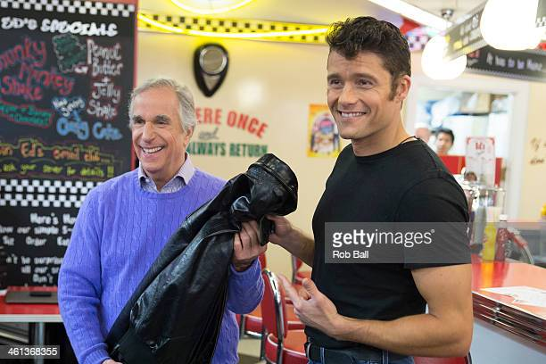 Henry Winkler and Ben Freeman attend a photocall for new musical 'Happy Days' at Ed's Easy Diner on January 8 2014 in London England