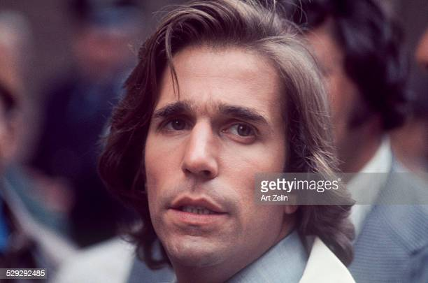 Henry Winkler closeup during the filming of 'Hero' 1977