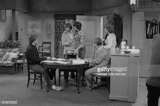 Henry Winkler Scott Baio Ted McGinley Marion Ross and Tom Bosley rehearse on the set of 'Happy Days' at Paramount Studios on March 5 1981 in Los...