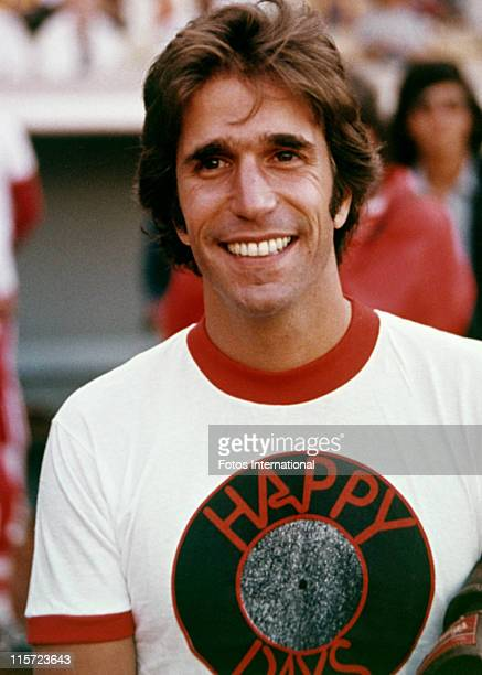 Henry Winkler US actor director and producer wearing a tshirt bearing the name of US sitcom 'Happy Days' in which Winkler stars as 'Arthur...