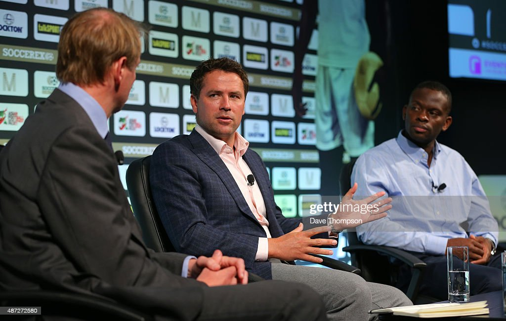 R Henry Winter Michael Owen and Louis Saha take part in a discussion about 'Life after football' during day four of the Soccerex Global Convention at...
