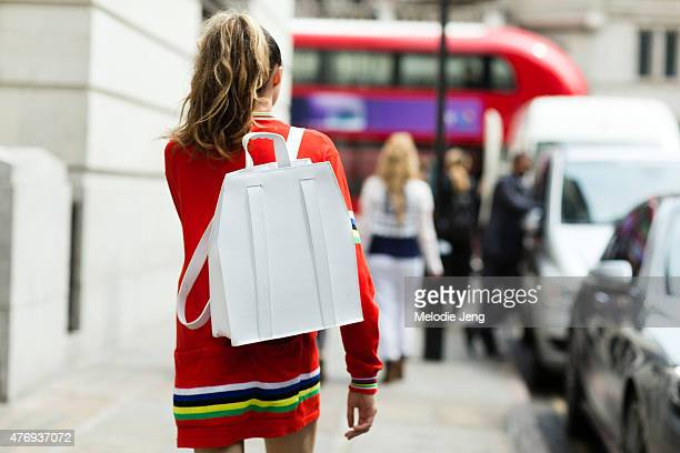 Hensley backpack during The London Collections Men SS16 at on June 12 2015 in London England