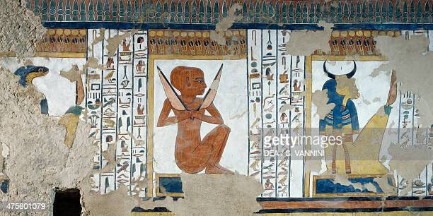HentyReki guardian of the fifth Gate of the Kingdom of Osiris and oxheaded guardian of the fourth gate detail from the frescoes of the burial chamber...
