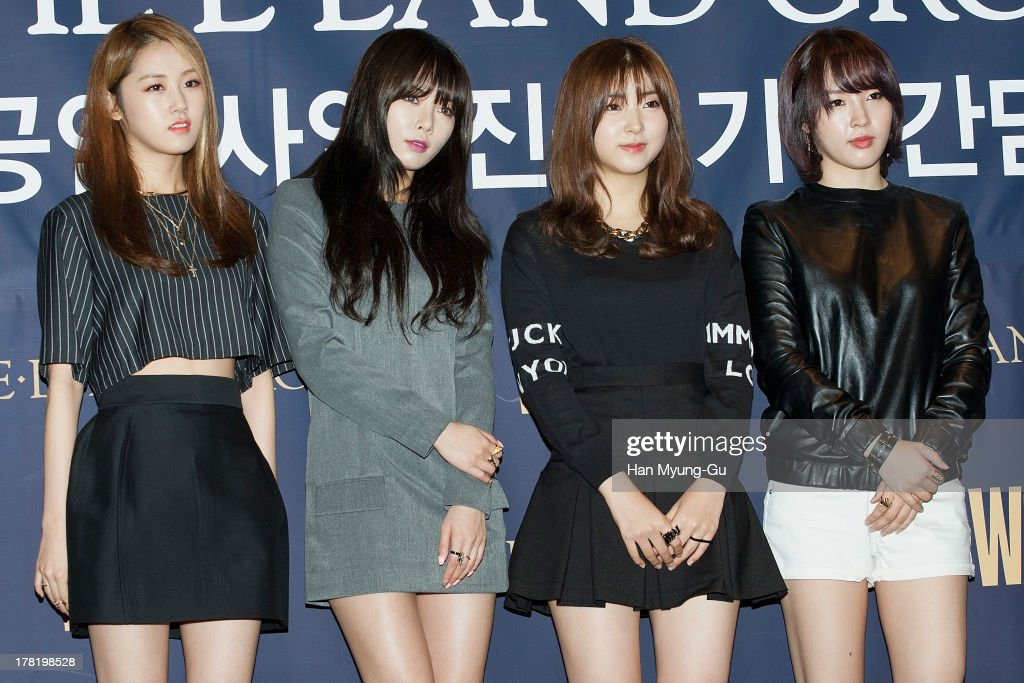 Heo Ga-Yoon (Gayun), Kim Hyun-A (Hyuna) , Sohyun and Jeon Ji-Yoon (Jiyun) of South Korean girl group 4minute attend during the E-Land Group press conference at the Lexington Hotel on August 27, 2013 in Seoul, South Korea. E-Land group announced today that it will start its entertainment business by making 'Hallyu' related content with 40 Korean management firms. The E-Land group said its 'WAPOP' project will offer an entirely new genre of 'Hallyu' by combining multiple contents.