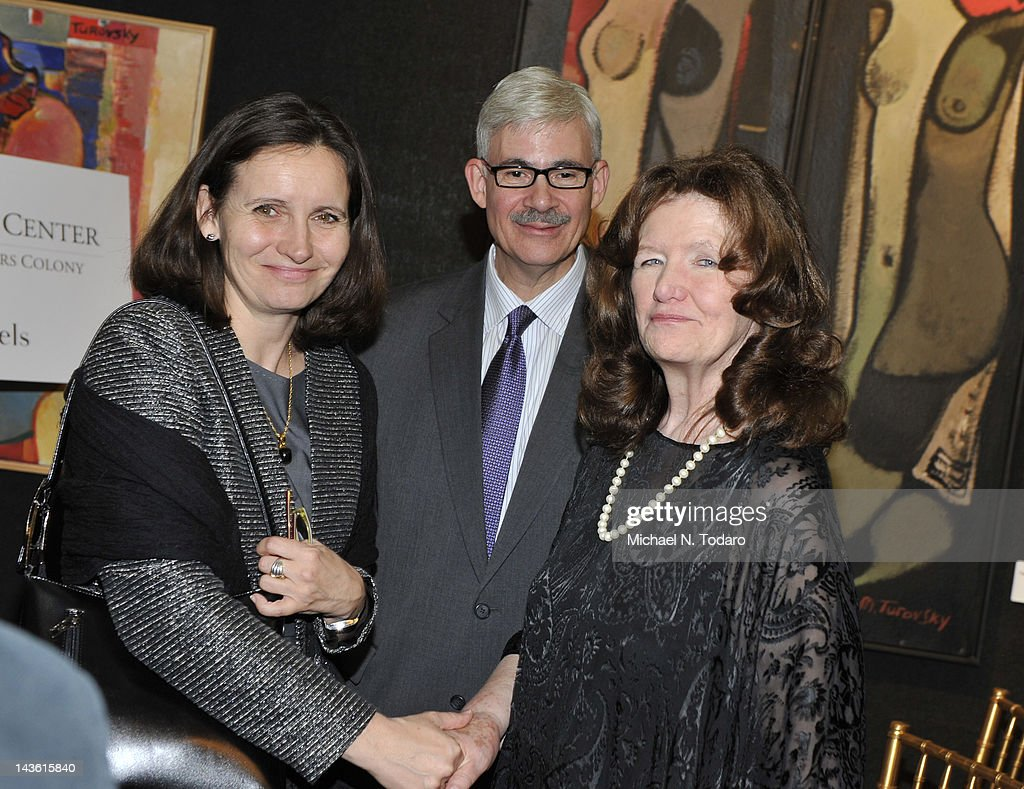Her Excellency Mrs. Edita Hrda, Permanent Representative of the Czech Republic to the United Nations (L) and Caroline Stoessinger (R) attend the Norman Mailer Center Commendation Awards at The National Arts Club on April 30, 2012 in New York City.