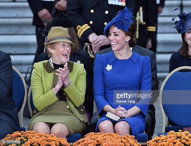 Her Excellency Sharon Johnston and Catherine Duchess of Cambridge attend the Official Welcome Ceremony for the Royal Tour at the British Columbia...