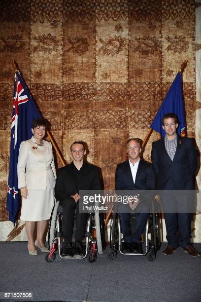 Her Excellency The Rt Hon Dame Patsy Reddy GovernorGeneral of New Zealand and Para athletes Corey Peters Adam Hall and Aaron Ewen during the New...